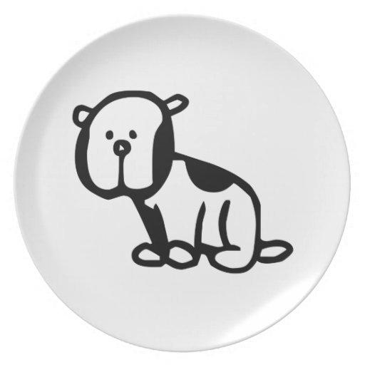 Perro del dibujo animado plato