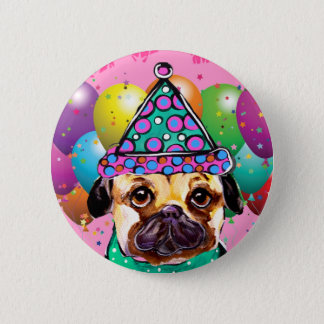 Perro del fiesta del barro amasado chapa redonda de 5 cm
