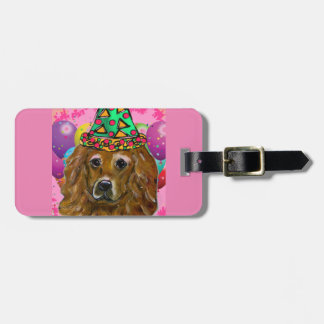Perro del fiesta del golden retriever etiqueta para maletas