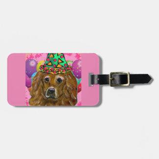 Perro del fiesta del golden retriever etiquetas para maletas