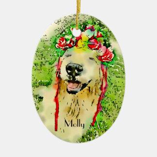 Perro del golden retriever con la acuarela de la adorno de cerámica