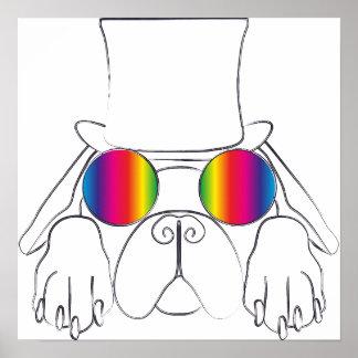 Perro del Hippie del arco iris Póster