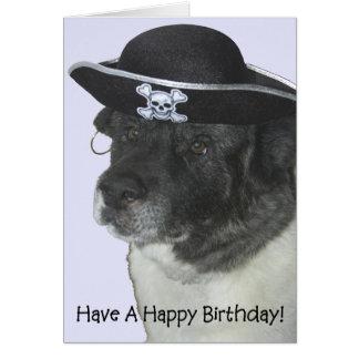 Perro del pirata del feliz cumpleaños tarjeta de felicitación