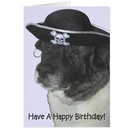 Perro del pirata del feliz cumpleaños tarjeton