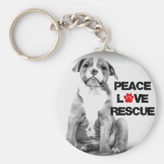 Perro del rescate del amor de la paz llavero redondo tipo chapa