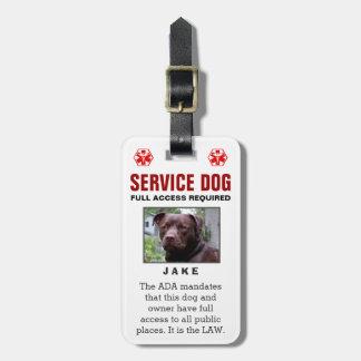 Perro del servicio - insignia requerida acceso etiqueta para maletas