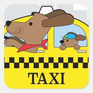 Perro del taxi de Nueva York Pegatina Cuadrada