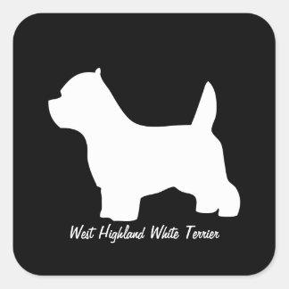 Perro del terrier blanco de montaña del oeste, pegatina cuadrada
