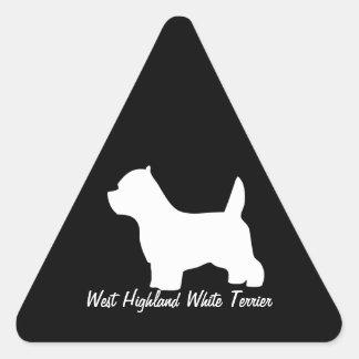 Perro del terrier blanco de montaña del oeste, pegatina triangular