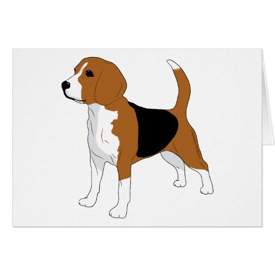 Perro derecho del dibujo del beagle tarjeta pequeña