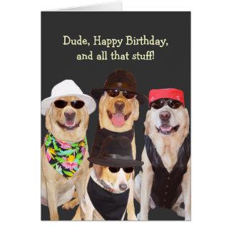 Perro divertido adaptable de los laboratorios y tarjeta de felicitación