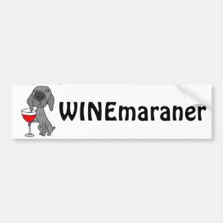 Perro divertido de Weimaraner que bebe el vino Pegatina Para Coche
