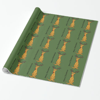 Perro divertido del galgo como reno del navidad papel de regalo