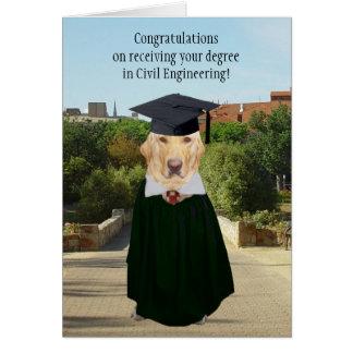 Perro divertido/ingeniero civil de la graduación tarjeta