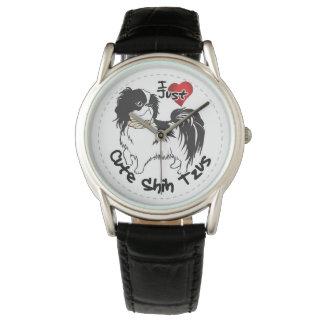 Perro divertido y lindo adorable feliz de Shih Tzu Relojes De Pulsera