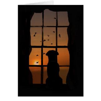 Perro en condolencia de la ventana, tarjeta de las
