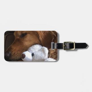 perro etiqueta para maletas