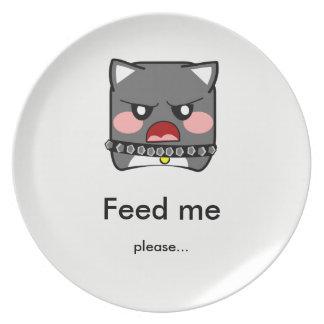 Perro hambriento enojado - aliménteme la batea platos de comidas
