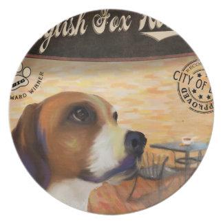 Perro inglés del Fox del café Platos Para Fiestas