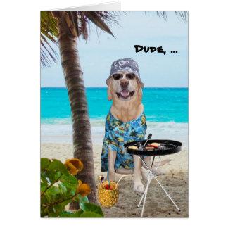 Perro laboratorio divertidos en camisa hawaiana en tarjeton