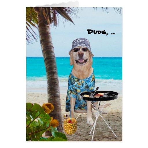 Perro/laboratorio divertidos en camisa hawaiana en tarjeton