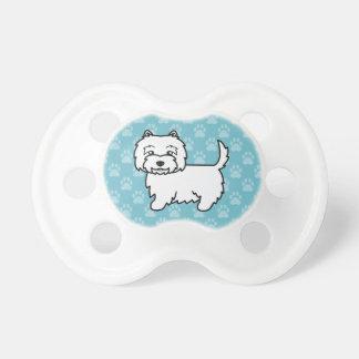 Perro lindo de Terrier blanco de montaña del oeste Chupetes Para Bebes