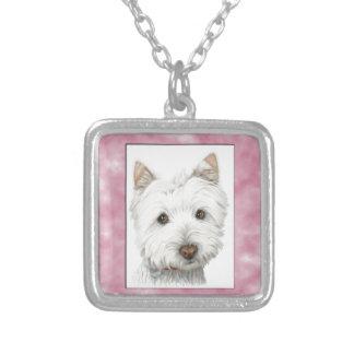 Perro lindo de Westie en arte rosado del marco Pendientes Personalizados