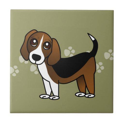 Perro lindo del dibujo animado del beagle en verde azulejo ...