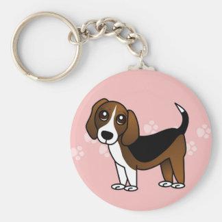 Perro lindo del dibujo animado del beagle llavero redondo tipo chapa