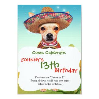 Perro mexicano, chihuahua invitación 12,7 x 17,8 cm