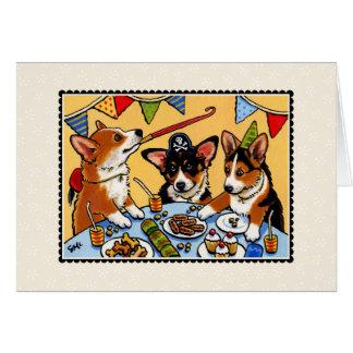 Perro Notecard del fiesta del Corgi Tarjeta Pequeña
