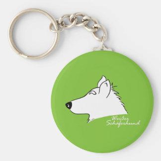 Perro pastor blanco cabeza silueta llavero redondo tipo chapa