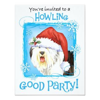 Perro pastor inglés viejo feliz de Howliday Invitación 10,8 X 13,9 Cm