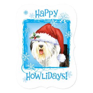 Perro pastor inglés viejo feliz de Howlidays Invitación 12,7 X 17,8 Cm