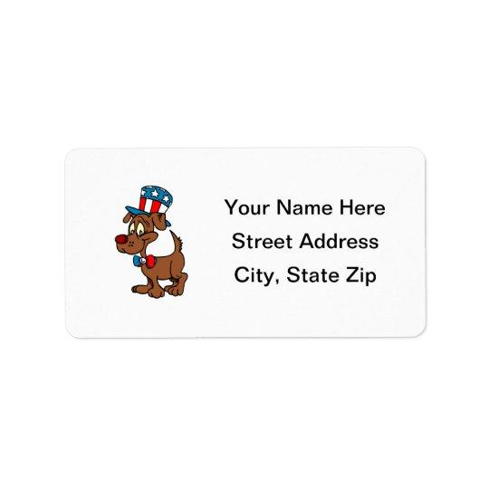 Perro patriótico etiquetas de dirección