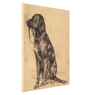 Perro solo que sostiene su propio correo, tinta de impresión en lienzo