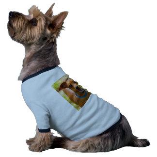 Perro sonriente del cuello azul del Pinscher Camiseta Con Mangas Para Perro