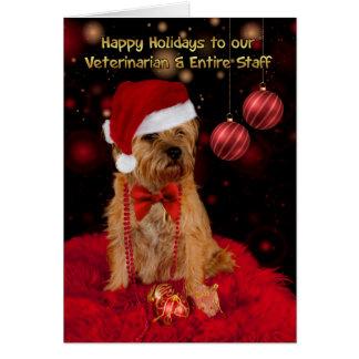 Perro veterinario de Terrier de frontera en un Tarjeta De Felicitación