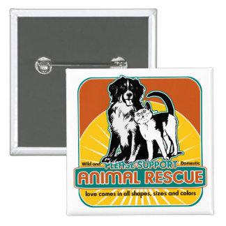 Perro y gato animales del rescate chapa cuadrada 5 cm