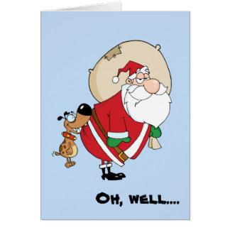 Perro y tarjeta de Navidad divertidos de Santa