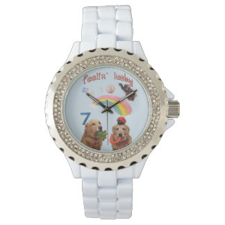 Perros afortunados del golden retriever reloj de pulsera