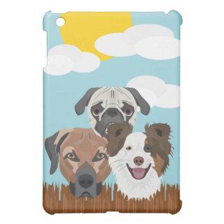 Perros afortunados del ilustracion en una cerca de