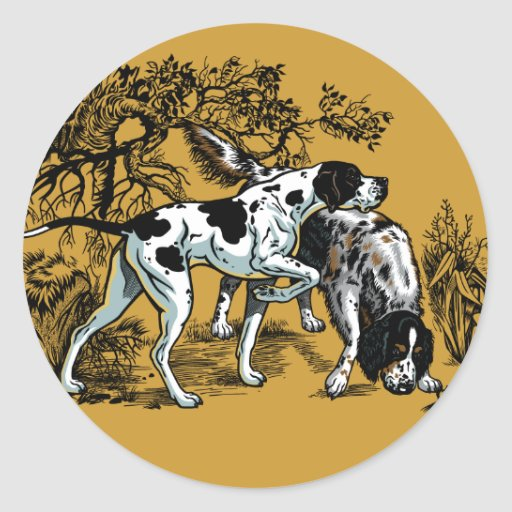 perros de caza etiquetas redondas