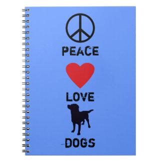 Perros del amor de la paz libros de apuntes con espiral