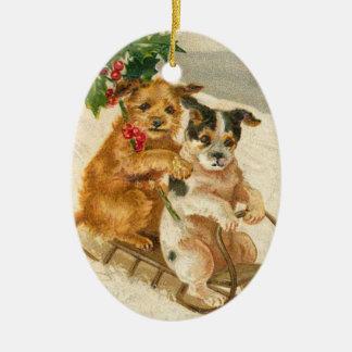 Perros del vintage en un ornamento del navidad del