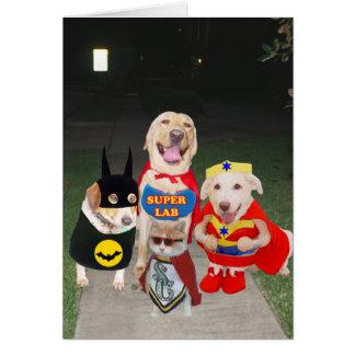Perros divertidos Halloween Tarjeton