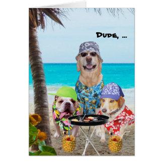 Perros divertidos/laboratorio en camisetas hawaian tarjeta