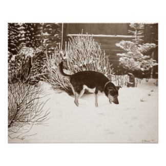 Perros en arte del realista de la pintura de paisa perfect poster
