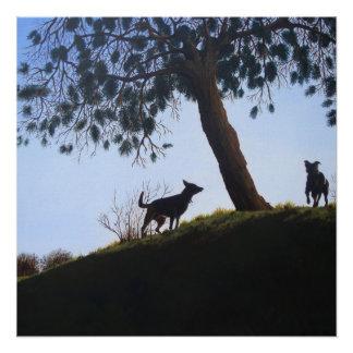 Perros en arte del realista de la pintura de paisa