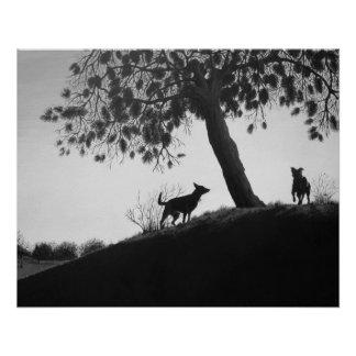 Perros en arte del realista de la pintura de